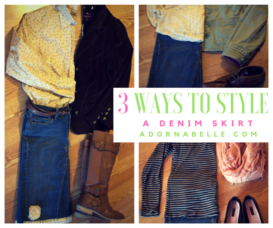 Three Ways To Style A Denim Skirt